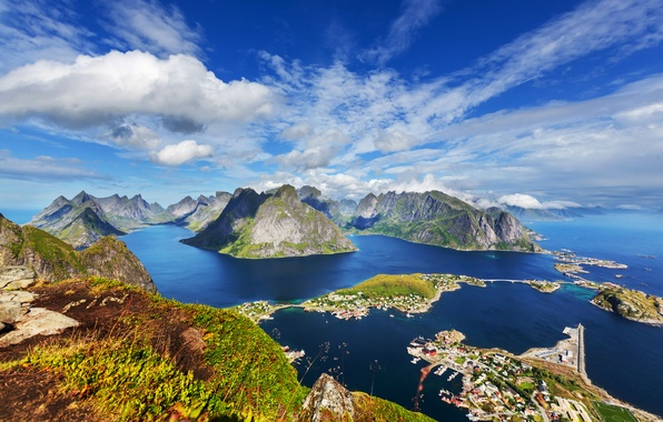 Picture sea, Islands, clouds, mountains, coast, home, Norway, panorama, the view from the top, The Lofoten …
