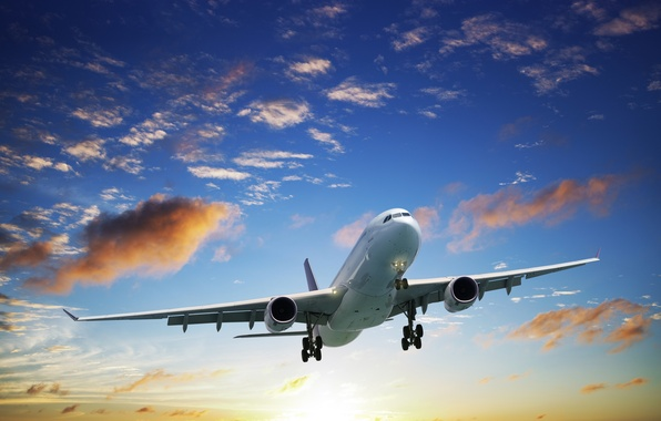 Picture the sun, clouds, flight, the plane, the rise, in the sky, passenger, airliner