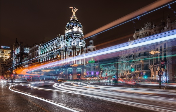Picture road, night, the city, building, excerpt, Spain, Madrid, Madrid