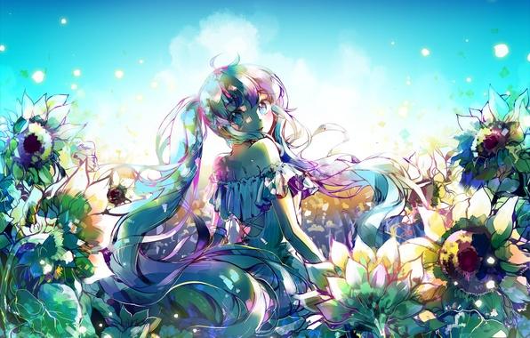 Picture the sky, girl, the sun, clouds, flowers, smile, anime, art, vocaloid, hatsune miku, ottmi