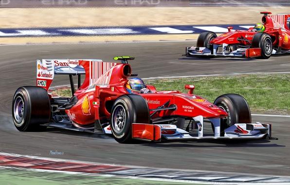 Picture figure, team, race, Ferrari, pilot, the car, Fernando Alonso, Felipe Massa, Fernando Alonso, Formula 1, …