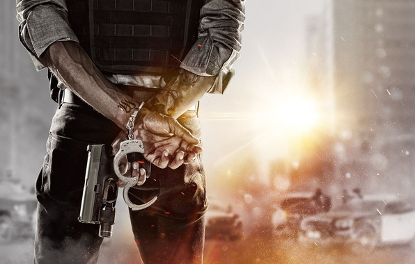 Photo Wallpaper Home Machine Light Weapons Tattoo Handcuffs COP