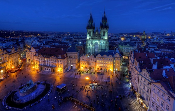 Picture light, the city, people, building, road, the evening, roof, Prague, Czech Republic, lights, architecture, street, …