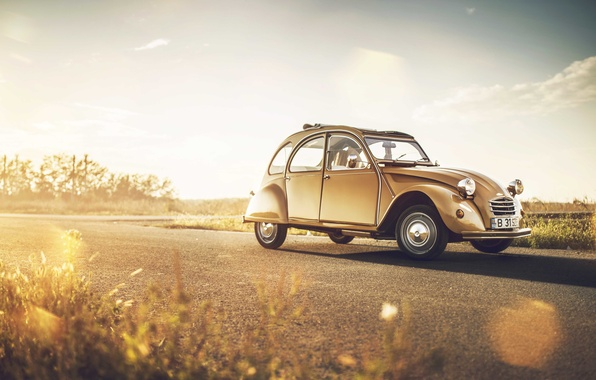 Wallpaper Road The Sun Lights Wheel Citroen Side 2cv