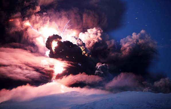 Picture ash, zipper, smoke, the volcano, the eruption, Iceland, Eyjafjallajökull