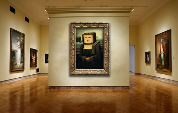 Picture wall, gallery, pictures, cubism, Mona Lisa