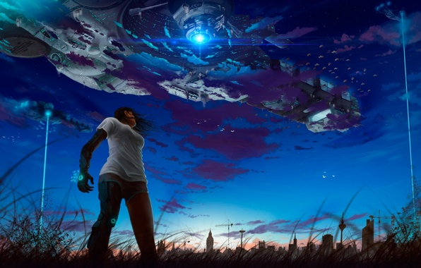 Picture girl, stars, night, metal, the city, robot, ships, ray, art, Android