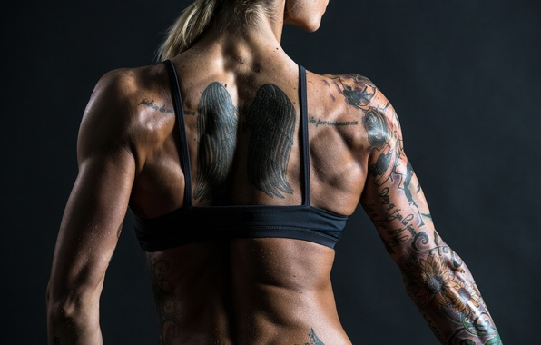 Picture muscles, back, tattoos, physical activity