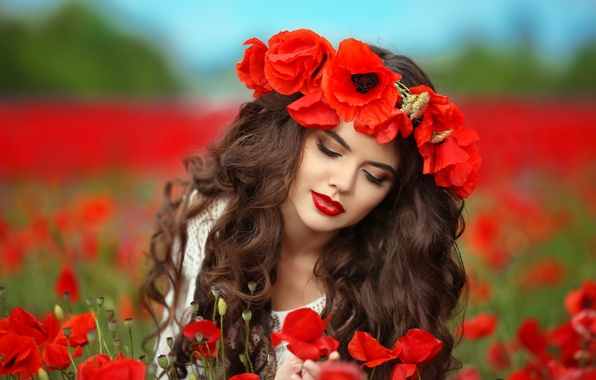 Picture field, summer, girl, flowers, Maki, makeup, hairstyle, red, brown hair, wreath, bokeh