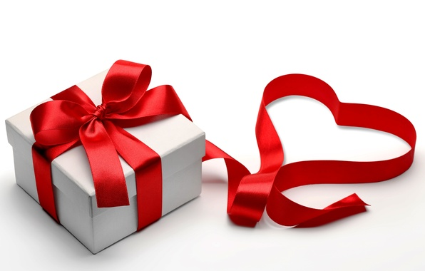 Picture gift, heart, tape, love, bow, box, heart, romantic, Valentine's day, gift