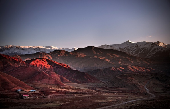 Picture road, mountains, houses, Iran, Alamut