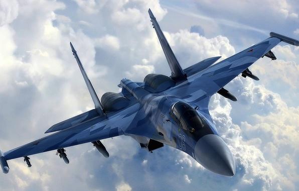 Picture the sky, clouds, the plane, fighter, multipurpose, super-maneuverable, su-35, su-35