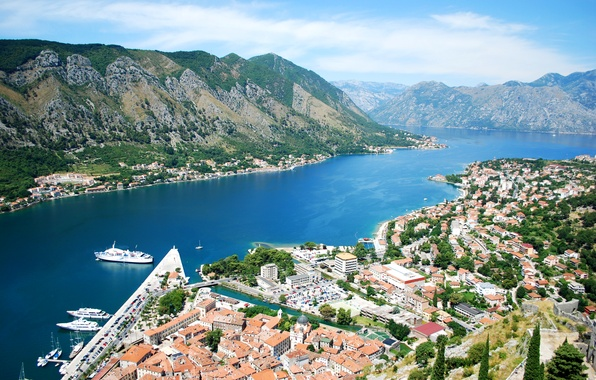 Picture mountains, shore, home, Bay, panorama, Bay, liner, boats, Montenegro, Kotor