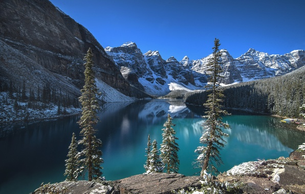 Picture forest, the sky, clouds, snow, trees, mountains, lake, rocks, Canada, Albert, Banff National Park, Moraine …
