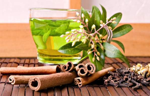 Picture tea, cinnamon, mint