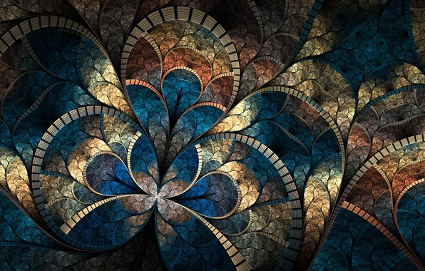 Picture mosaic, abstraction, curves, brightness, fractal pattern