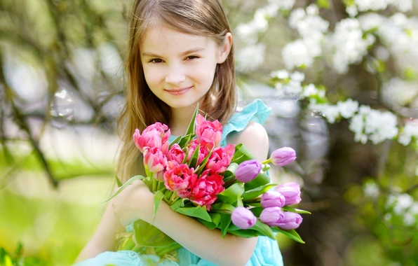 Photo wallpaper girl, girls, child, Little, spring, Tulips, tulips