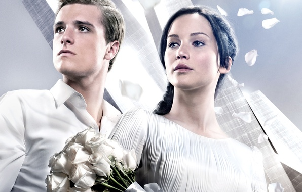 Picture girl, the film, roses, actress, actor, guy, Jennifer Lawrence, Jennifer Lawrence, The hunger games, Catching …