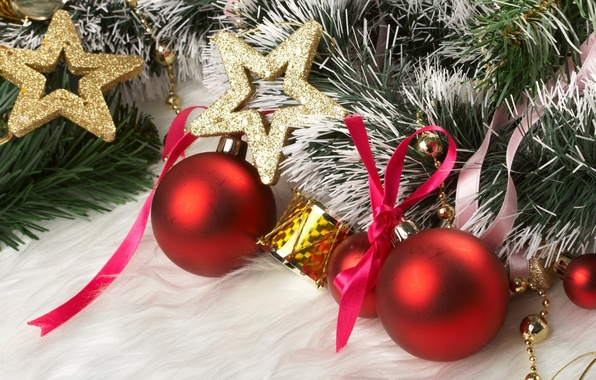 Picture decoration, balls, star, tree, new year, tape, tinsel, bow, drum, holidays, Christmas