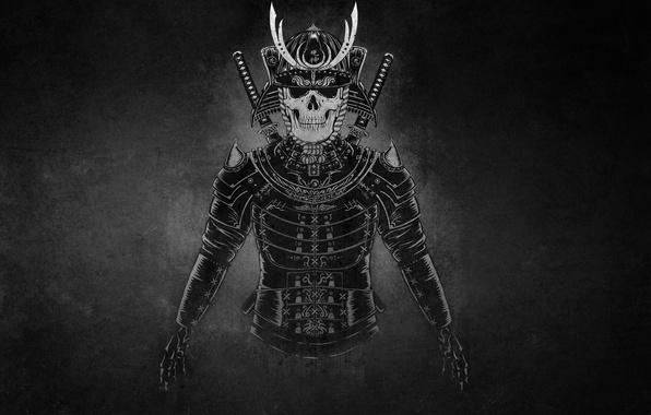 Picture the dark background, warrior, samurai, skeleton, helmet, swords