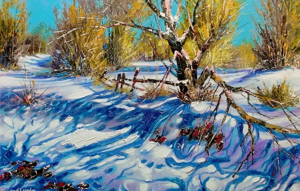 Picture winter, the sky, snow, landscape, branches, nature, picture, day, shadows, painting, Khodukov