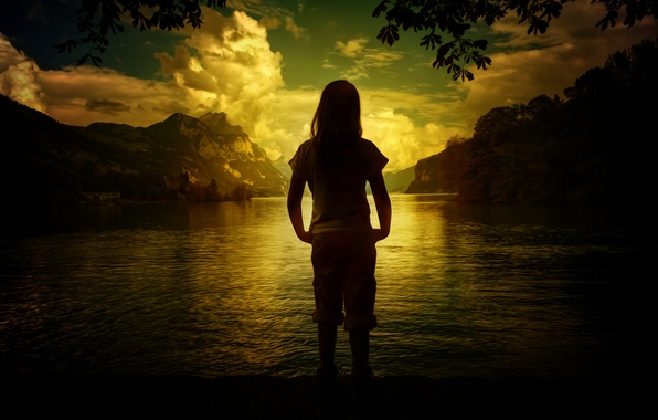 Picture landscape, mountains, nature, lake, girl