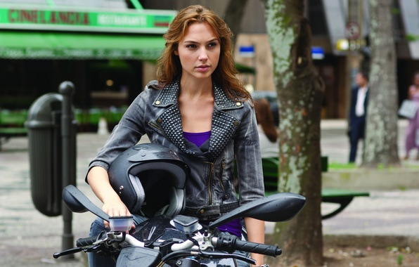 Picture actress, motorcycle, helmet, The fast and the furious, Gal Gadot, Gal Gadot