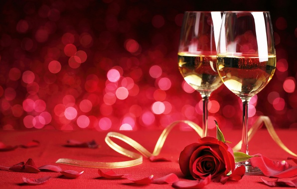 Picture romance, rose, glasses, flowers, romantic, Valentine`s day, Valentine's day