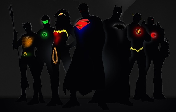 Picture glow, Wonder Woman, Batman, Green Lantern, Superman, superheroes, DC Comics, Cyborg, Flash, Aquaman