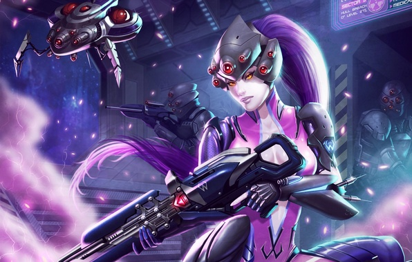 Picture weapons, fiction, art, costume, Blizzard, girl. look, Overwatch, Widow, Widowmaker