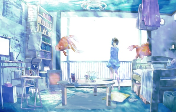 Picture girl, fish, fish, room, interior, art, gold, rery rr23