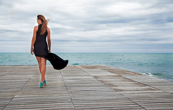 Picture sea, girl, the wind, hair, back, shoes, heels, black dress