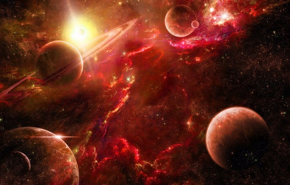 Picture space, stars, nebula, planet, space, red, red, nebula, stars, planet