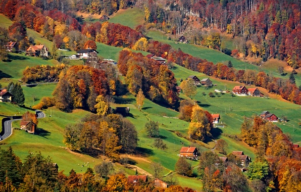 Picture road, autumn, grass, trees, mountains, home, slope, Alps