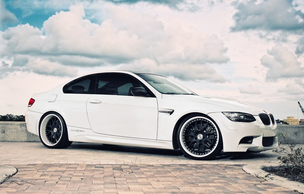 Picture white, the sky, clouds, BMW, BMW, white, E92