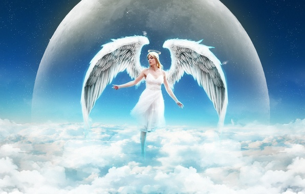 Picture the sky, girl, clouds, planet, wings, angel, halo