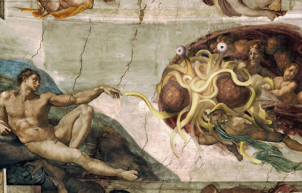 Picture picture, Angels, religion, Adam, Flying Spaghetti Monster, pastafarianstvo, The Sistine chapel, God, The Flying Spaghetti …