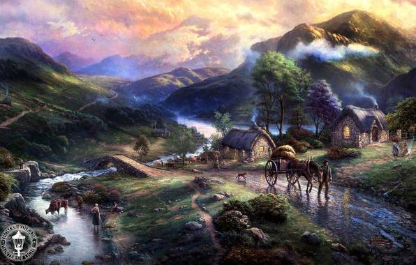 Picture animals, mountains, bridge, nature, lake, river, home, village, painting, river, animals, nature, bridge, art, dog, …