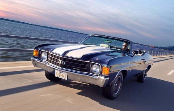 Picture road, car, auto, speed, Chevrolet, road, 454, speed, Chevelle, Convertible, 1972, Malibu