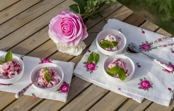 Picture flowers, table, roses, ice cream, pink, white, mint, tablecloth, spoon