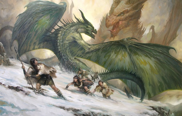 Picture snow, mountains, people, girls, rocks, dog, dragons, art, battle, savages, LucasGraciano