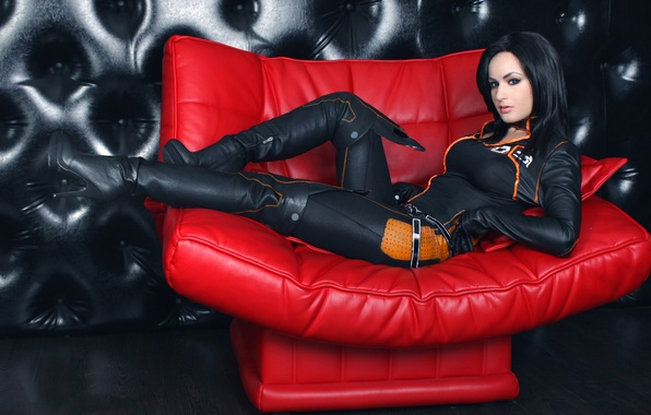 Picture girl, pose, sofa, costume, cosplay, Mass effect, Miranda Lowson, Afterlife