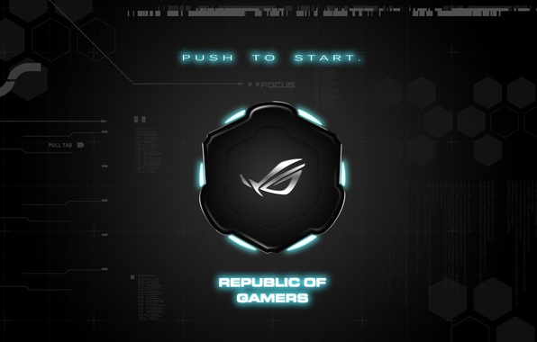 Picture background, brand, asus, rog, republic of gamers, push to start