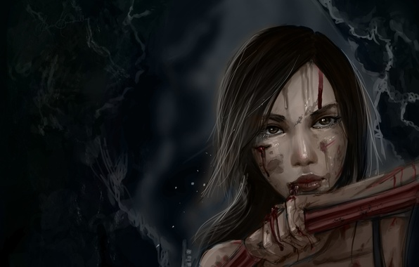 Picture girl, face, blood, art, Lara Croft, wounds