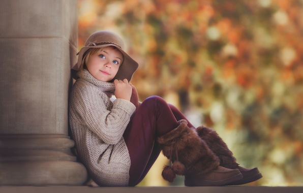 Picture autumn, hat, portrait, girl, boots