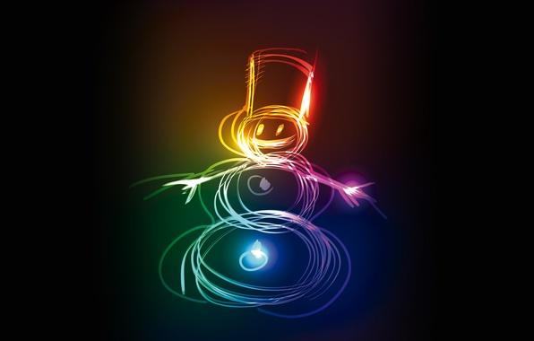 Picture colors, Christmas, snowman, christmas, neon, snowman, xmas