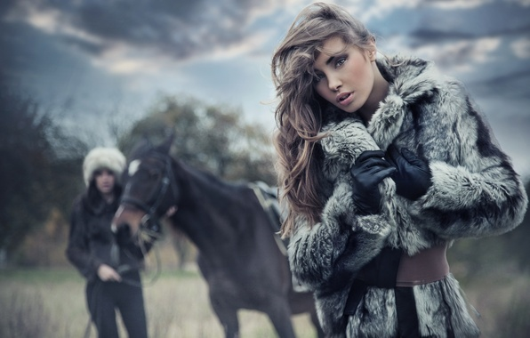Picture nature, horse, Girls