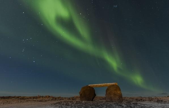 Picture stars, night, stones, Northern lights