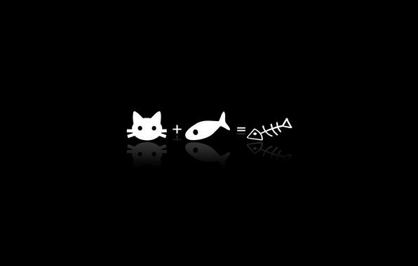 Picture BACKGROUND, BLACK, SIGN, FISH, BONES, ANYWAY, CAT, PLUS