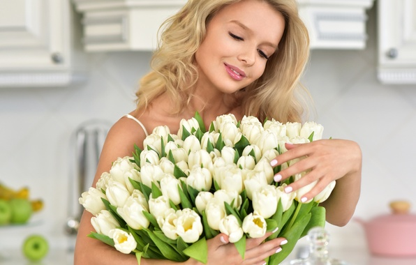 Picture girl, flowers, mood, bouquet, hairstyle, blonde, kitchen, tulips, white, bokeh
